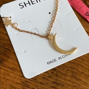✨ SHEIN moon and star gold color necklace! NWT!
